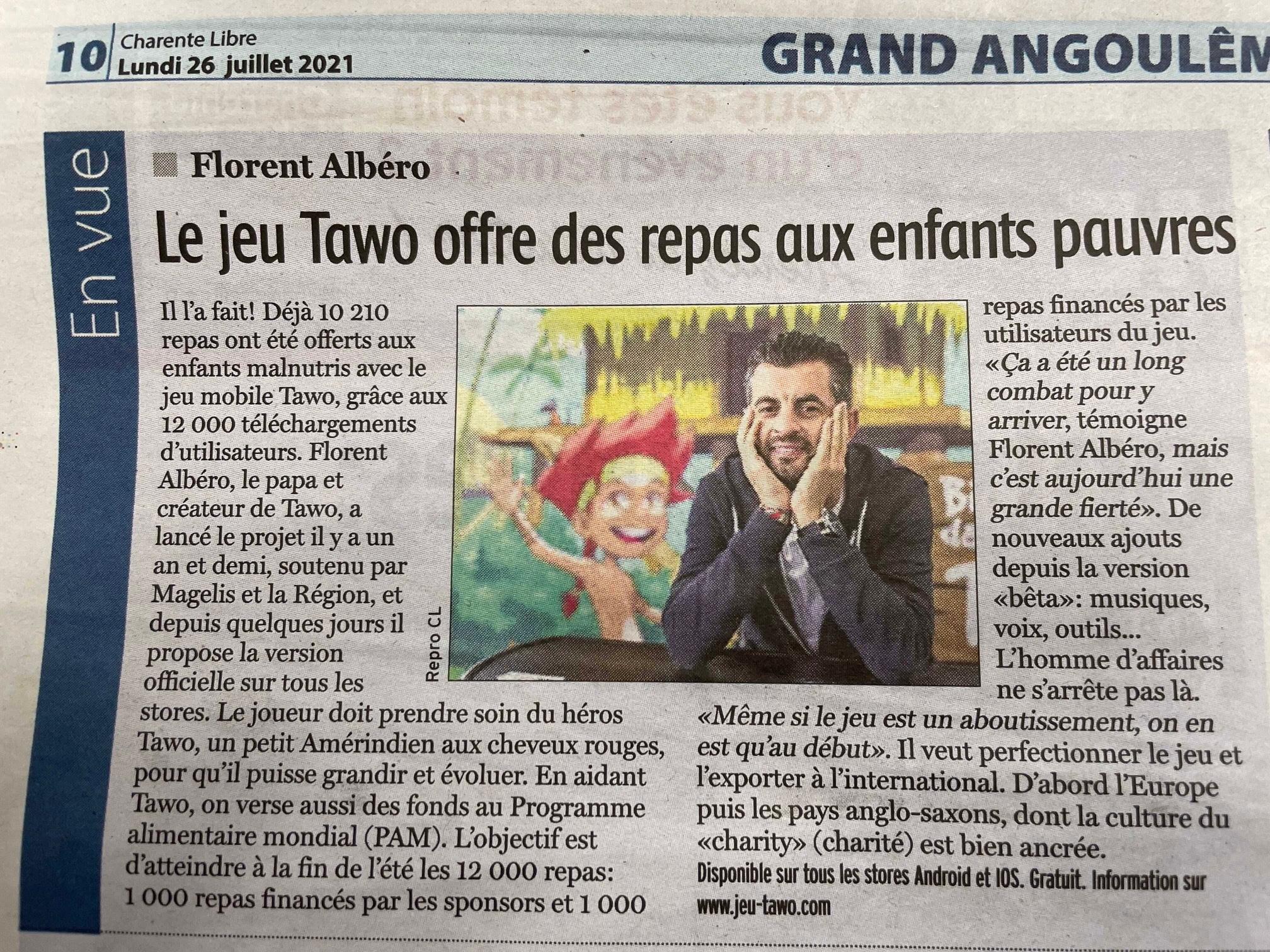 Article dans le journal Charente Libre